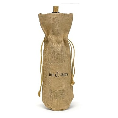 HBH™ 15in. in.Mr & Mrsin. Burlap Wine Bag, Tan/Black