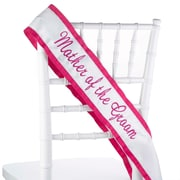 """HBH™ 70"""" x 4"""" """"Mother Of The Groom"""" Sash With Fucshia Grosgrain Ribbon, White"""