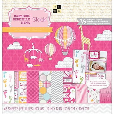 Diecuts With A View® Baby Girl 3 Paper Stack, 12