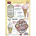 Justrite® Papercraft 6in. x 8in. Clear Stamp Set, The Scoop Vintage Labels Four