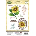 Justrite® Papercraft 5 1/2in. x 8 1/2in. Cling Stamp Set, Sunflower Vintage Labels Five