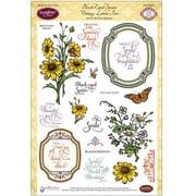 """Justrite® Papercraft 6"""" x 8"""" Five Clear Stamp Set, Eyed Susan Vintage Labels"""