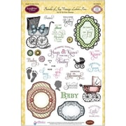 "Justrite® Papercraft 6"" x 8"" Five Clear Stamp Set, Bundle Of Joy Vintage Labels"