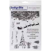 "IndigoBlu 9 1/4"" x 6 1/4"" Mounted Cling Rubber Stamp, Here Comes Santa"