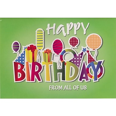 greeting cards, happy birthday from all of us, /pack  staples®, Greeting card