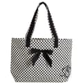 Jessie Steele White with Black Deco Dots Tote Bag with Bow