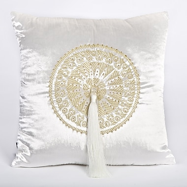 Debage Inc. Tudor Velvet Throw Pillow; White