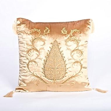 Debage Inc. Tudor Climbing Acorn Velvet Throw Pillow; Light Gold
