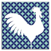 Oscar & Izzy Folksy Love 4-1/4'' x 4-1/4'' Satin Decorative Tile in Doodle-Do Navy Right