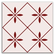 Oscar & Izzy Folksy Love 4-1/4'' x 4-1/4'' Glossy Decorative Tile in Glass Burgundy