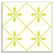 Oscar & Izzy Folksy Love 6'' x 6'' Glossy Decorative Tile in Glass Yellow-Green