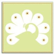 Oscar & Izzy Folksy Love 6'' x 6'' Satin Decorative Tile in Primped Peacock Mint-White