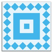 Oscar & Izzy Folksy Love 6'' x 6'' Satin Decorative Tile in Checkers Blue-Light Blue