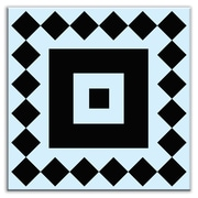 Oscar & Izzy Folksy Love 6'' x 6'' Satin Decorative Tile in Checkers Black-Light Blue