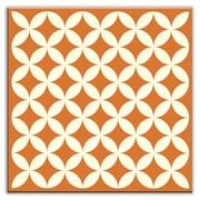 Oscar & Izzy Folksy Love 6'' x 6'' Satin Decorative Tile in Needle Point Orange