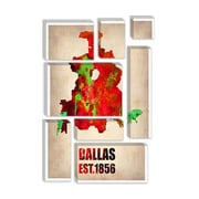 iCanvas 'Dallas Watercolor Map' by Naxart Painting Print on Canvas; 12'' H x 8'' W x 0.75'' D