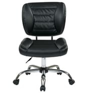 Office Star Faux Leather Armless Task Chair with Chrome Accents; Black