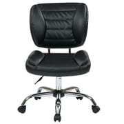 Office Star Faux Leather Armless Task Chair with Chrome Accents; Red