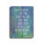 Artehouse LLC Doubt The Stars Are Fire #2 Planked Textual Art Plaque