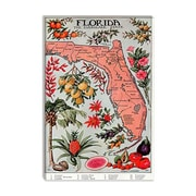 Vintage Posters State Map of Florida (Natural Resources) Vintage Advertisement on Wrapped Canvas