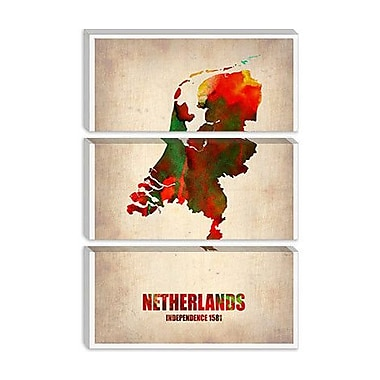 iCanvas 'Netherlands Watercolor Map' by Naxart Graphic Art on Canvas; 18'' H x 12'' W x 0.75'' D