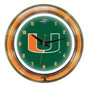 Wave 7 NCAA 14'' Team Neon Wall Clock; Miami
