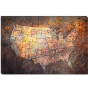 iCanvas 'U.S.A. Map' by Michael Tompsett Graphic Art on Canvas; 8'' H x 12'' W x 0.75'' D