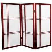 Oriental Furniture 35.75'' x 43'' Double Cross Shoji 3 Panel Room Divider; Rosewood