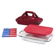 Pyrex Portables 4-Piece Easy Grab Storage Container Set; Red