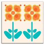 Oscar & Izzy Folksy Love 4-1/4'' x 4-1/4'' Satin Decorative Tile in Pressed Flowers Orange