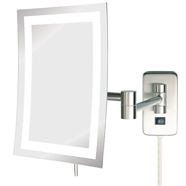 Jerdon LED Lighted Wall Mount Rectangular Makeup Mirror; Nickel