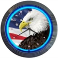 Neonetics 15'' Eagle With American Flag Neon Clock