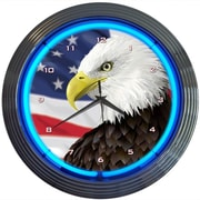 Neonetics 15'' Eagle With American Flag Neon Clock