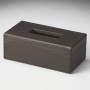 Butler Hors D'oeuvres Lido Leather Tissue Box; Black