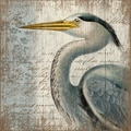 Vintage Signs Blue Heron by Suzanne Nicoll Graphic Art Plaque