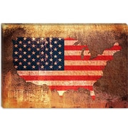 iCanvas 'U.S.A. Flag Map' by Michael Tompsett Graphic Art on Canvas; 8'' H x 12'' W x 0.75'' D