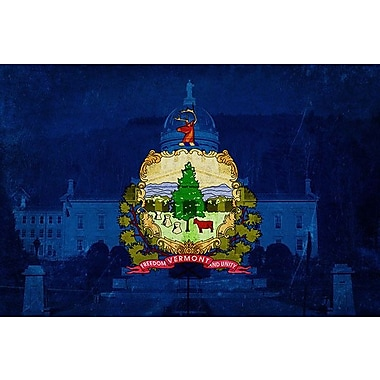 iCanvas Flags Vermont Capitol Building Graphic Art on Wrapped Canvas; 26'' H x 40'' W x 0.75'' D