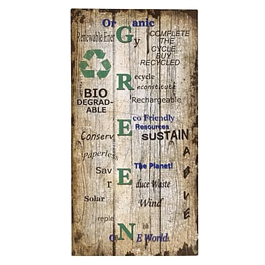 Wilco Home 'Green' Textual Art Plaque