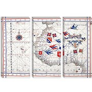 iCanvas Antique Maps 'Nautical Map (Vaz Dourado, Ferna o 1571)' Graphic Art on Canvas