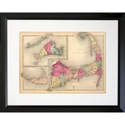 PENL Cape Cod Map Photographic Print Framed Graphic Art