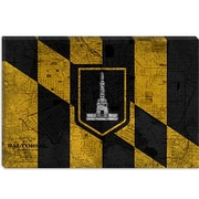 iCanvas Baltimore Flag, Grunge Vintage Map Graphic Art on Canvas; 26'' H x 40'' W x 0.75'' D