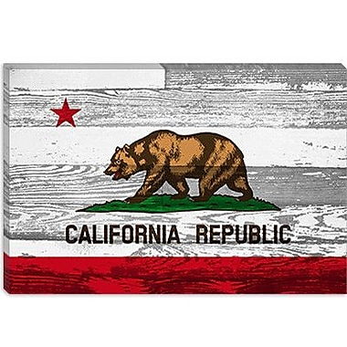 iCanvas California Flag, Grunge Wood Boards Graphic Art on Canvas; 18'' H x 26'' W x 1.5'' D