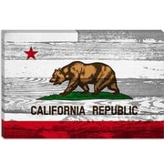 iCanvas California Flag, Grunge Wood Boards Graphic Art on Canvas; 8'' H x 12'' W x 0.75'' D