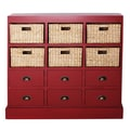 Gallerie Decor Nantucket 6 Drawer 6 Basket Chest; Red