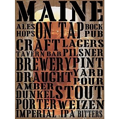 Graffitee Studios Maine on Tap Textual Art on Wrapped Canvas