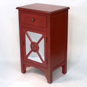 Heather Ann Wooden Cabinet with Mirror Insert; Red