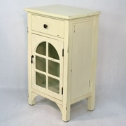 Heather Ann Wooden Cabinet with Glass Insert; White