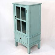 Heather Ann Wooden Cabinet with Glass Insert; Blue