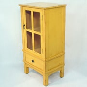 Heather Ann Wooden Cabinet with Glass Insert; Yellow