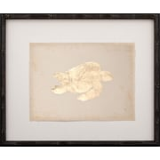 Mirror Image Home Gold Leaf Turtle - Right Facing on Paper Framed Graphic Art